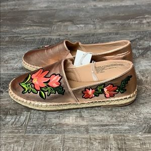 NWT A New Day Floral Rose Gold Espadrilles Loafers